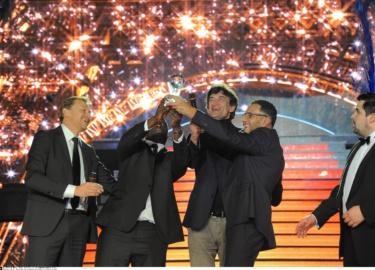 Omar Sy et Roschdy Zem, Soiree des 11e Ceremonie des Globes de Cristal au Lido .Paris.FRANCE.30/01/2017  //PJB_DSC_1833/Credit:PJB/BENHAMOU/GHNASSIA/SIPA/1701311436